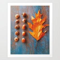 Little Autumn Acorns Art Print