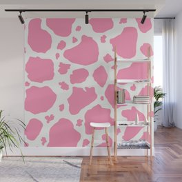 pink and white animal print cow spots Wall Mural