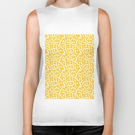 Yellow background with curves and dots. Biker Tank