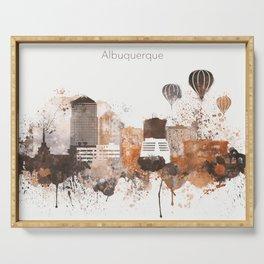 Brown Albuquerque skyline design Serving Tray