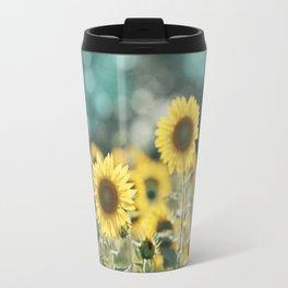 Sunflower Flower Photography, Yellow Teal Nature Turquoise Aqua Blue Green Travel Mug