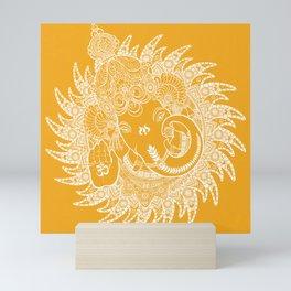 Ganesha Lineart Yellow White Mini Art Print