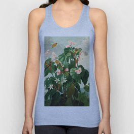 Pink Floral The Oblique-Leaved Begonias : Temple of Flora Unisex Tank Top