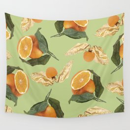Oranges and Physalis Fruits Pattern on green Background Wall Tapestry