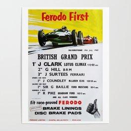 British Grand Prix, Silverstone, 1965, Vintage Poster, car poster Poster