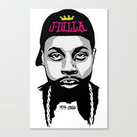 j dilla Canvas Prints featuring J Dilla by Chalwa Yard