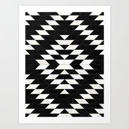 Urban Tribal Pattern No.14 - Aztec - Black Concrete Art Print
