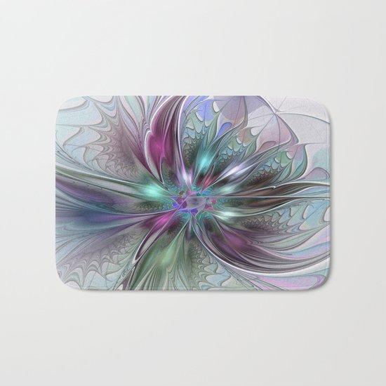 Colorful Fantasy Abstract Modern Fractal Flower Bath Mat