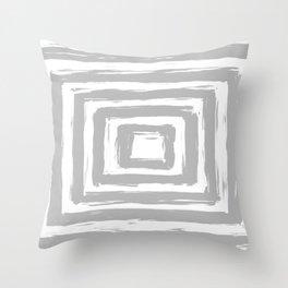 Minimal Light Gray Brush Stroke Square Rectangle Pattern Throw Pillow