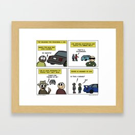 """Debadge"" - Stuck in Reverse comic Framed Art Print"