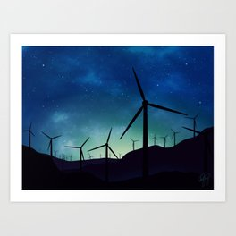 Palm Springs Windmills at Night Art Print