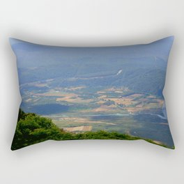River, Tree and Mountain Landscape Rectangular Pillow