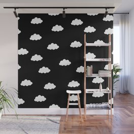 White clouds in black background Wall Mural