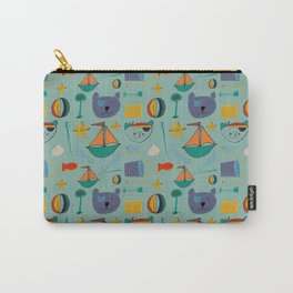cat and bear at the beach blue green Carry-All Pouch