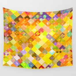geometric square pixel and circle pattern abstract in yellow orange red blue Wall Tapestry