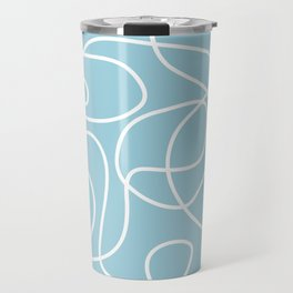 Doodle Line Art | White Lines on Baby Blue Travel Mug
