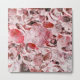 Shells V03 RED Metal Print