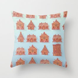 Gingerbread house pattern (V2) Throw Pillow