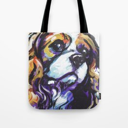 Blenheim Cavalier King Charles Spaniel Dog Portrait Pop Art painting by Lea Tote Bag