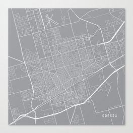Odessa Map, Texas USA - Pewter Canvas Print