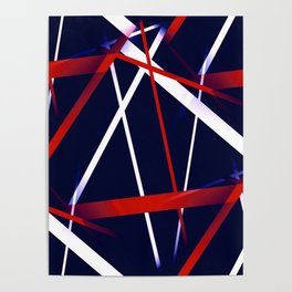 Seamless Red and White Stripes on A Blue Background Poster