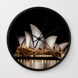 Sydney Opera House at Night Wall Clock
