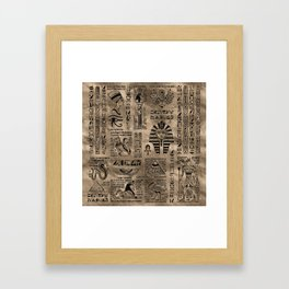 Egyptian hieroglyphs and deities - Luxury Gold Framed Art Print
