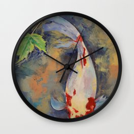 Koi with Japanese Maple Leaf Wall Clock