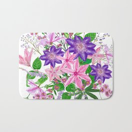 Bouquet with pink and violet clematis flowers Bath Mat