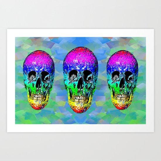 Skull disco rainbow Art Print