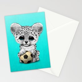 Snow leopard Cub With Football Soccer Ball Stationery Cards