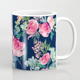 Navy and Pink Watercolor Peony Coffee Mug