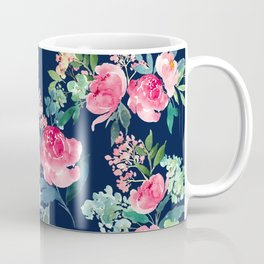 Navy and Pink Watercolor Peony Coffee Mug