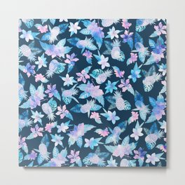 Tropical navy blue pink teal watercolor fruit floral Metal Print