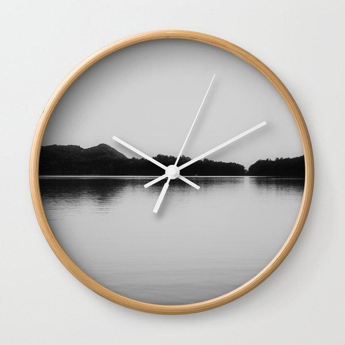 Herring Lake Black and White Wall Clock