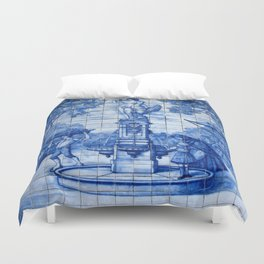 Portuguese Azulejo Tile Traditional Old World Life. Duvet Cover