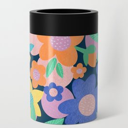 Spring Mod Flowers Pattern Can Cooler