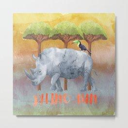 RHINO - FUN - rhinoceros - Africa Animal Metal Print