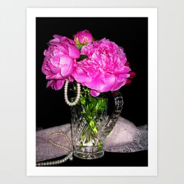 Peony Bouquet in a Crystal Vase Art Print