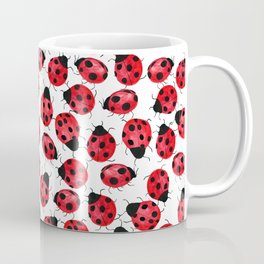 Watercolor Lady Bugs - Red Black Watercolor Insects Coffee Mug