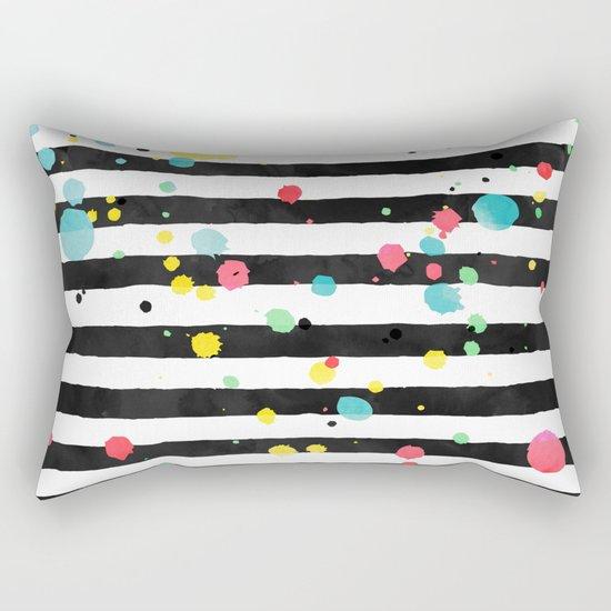 Watercolor splatters on stripes Rectangular Pillow