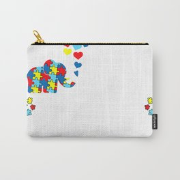 Non Verbal Autism Awareness Mom Elephant Love Needs No Words T-Shirt Carry-All Pouch