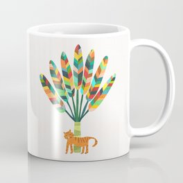 Whimsical travelers palm with tiger Coffee Mug