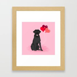 Black Labrador Retriever dog breed valentines day heart love balloons gifts black labs Framed Art Print