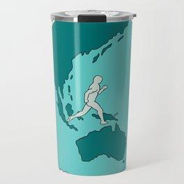 Marathon Runner Around World Drawing Travel Mug