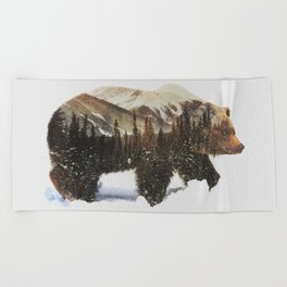 Arctic Grizzly Bear Beach Towel