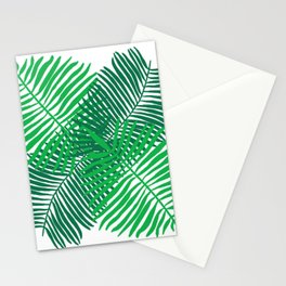Modern Tropical Palm Leaves Painting white background Stationery Cards
