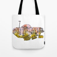 submarine Tote Bags featuring Submarine  by Joseph Kennelty