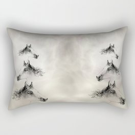 Horse, animal head portrait, hand drawn black and white drawing Rectangular Pillow
