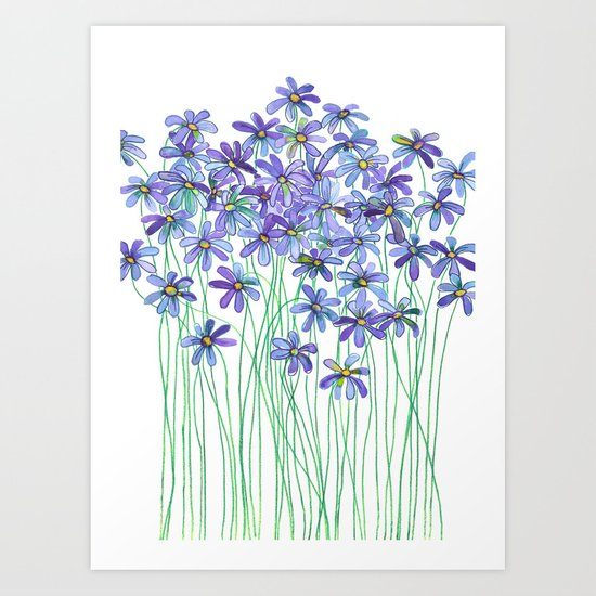 Purple Daisies in Watercolor & Colored Pencil Art Print